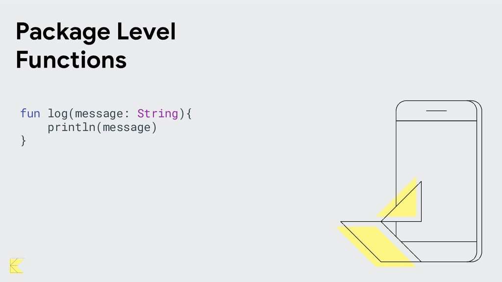 Package Level Functions fun log(message: String...