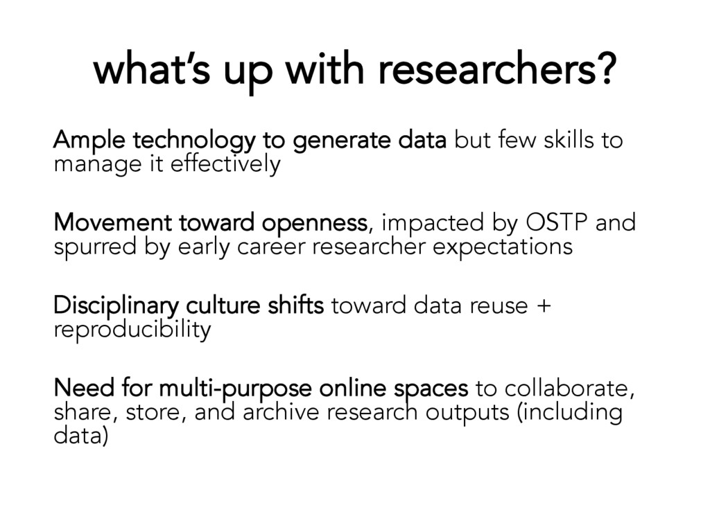what's up with researchers? Ample technology to...