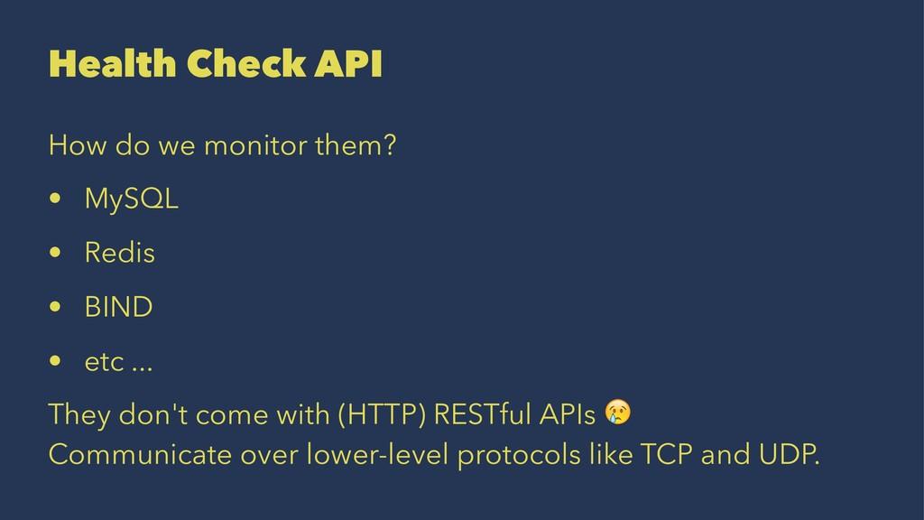 Health Check API How do we monitor them? • MySQ...