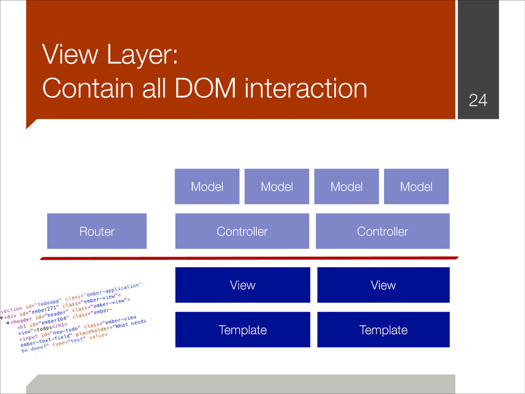 View Layer: Contain all DOM interaction !24 Ro...