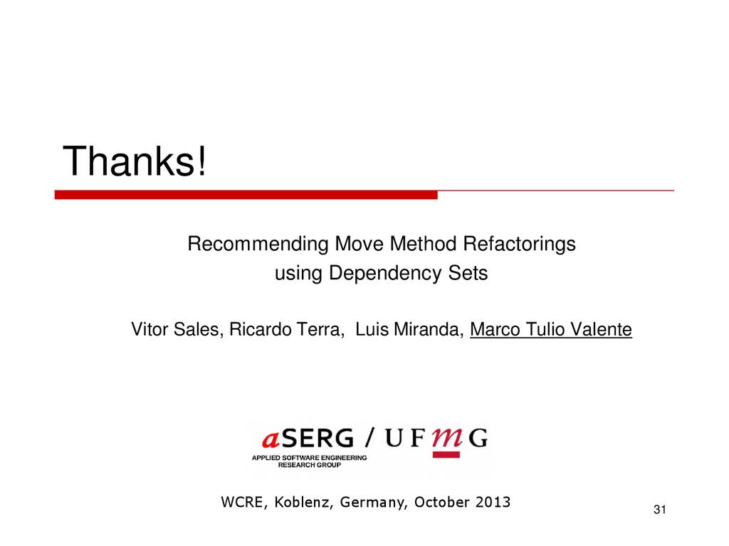 Thanks! Recommending Move Method Refactorings u...