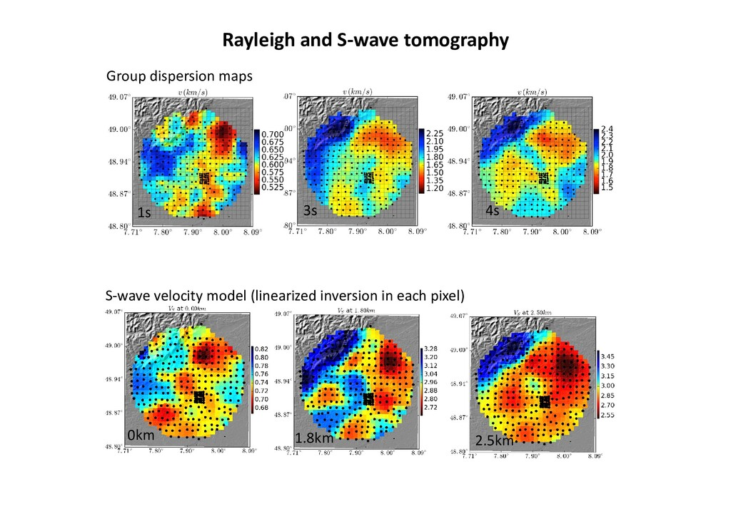 3s 1s 4s Group dispersion maps 2.5km Rayleigh a...