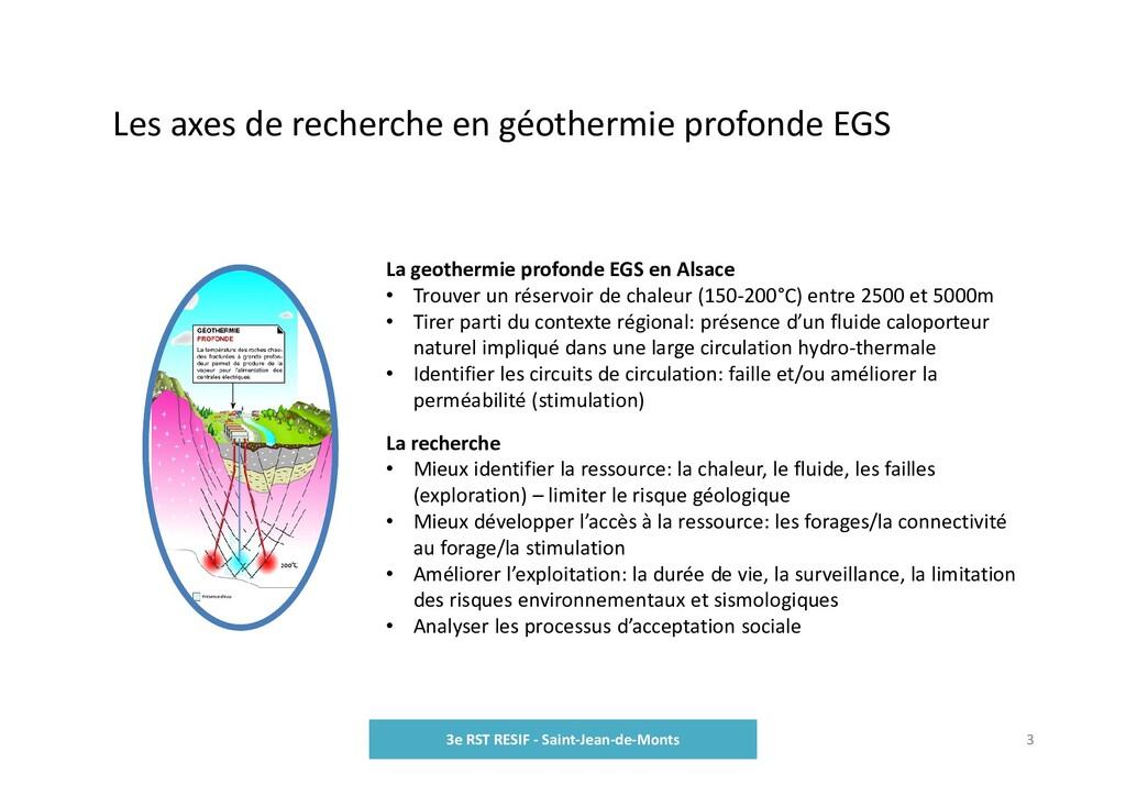 Les axes de recherche en géothermie profonde EG...