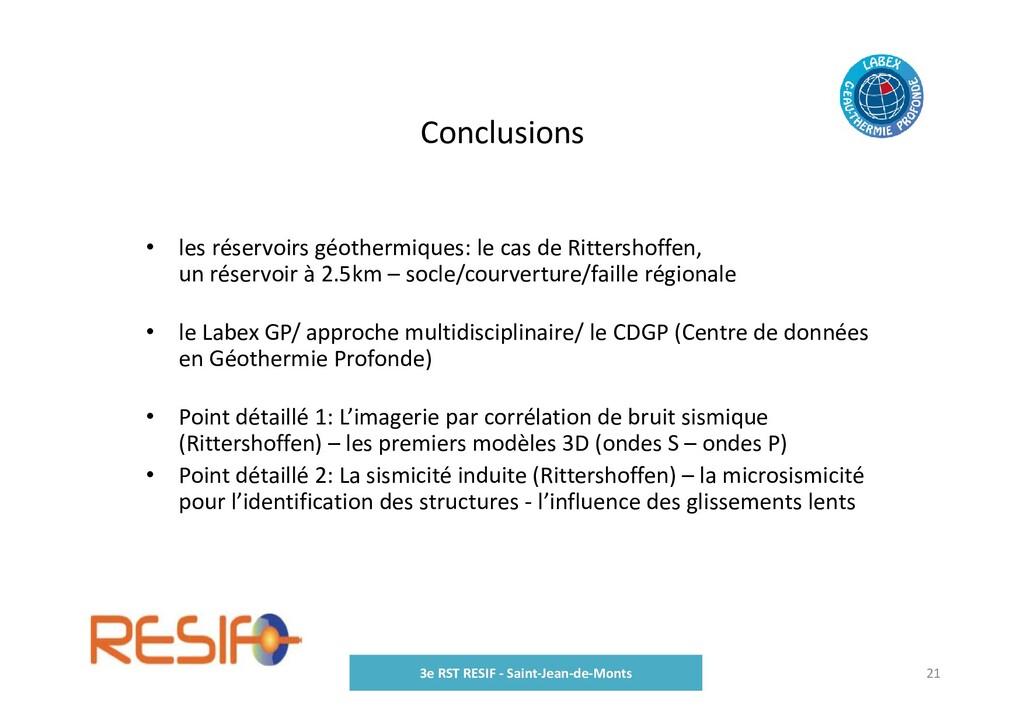 Conclusions 3e RST RESIF ‐ Saint‐Jean‐de‐Monts ...