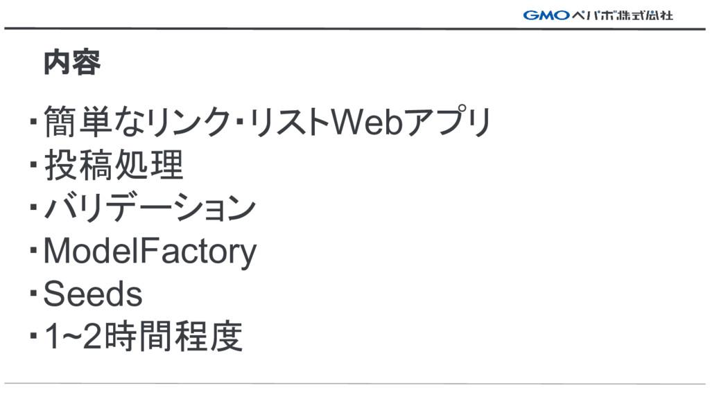 ・簡単なリンク・リストWebアプリ ・投稿処理 ・バリデーション ・ModelFactory ...