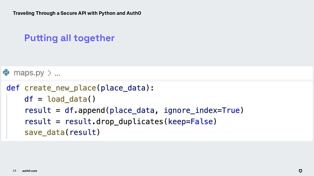auth0.com 24 Putting all together Traveling Thr...