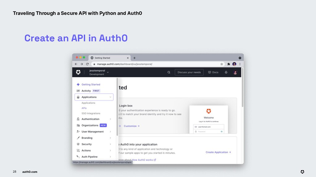 auth0.com 28 Create an API in Auth0 Traveling T...