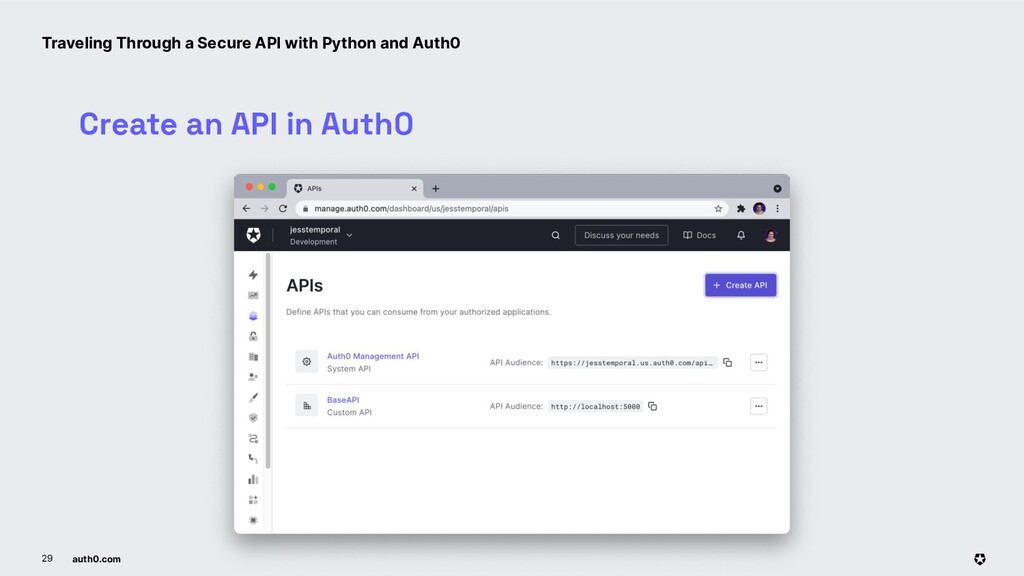 auth0.com 29 Create an API in Auth0 Traveling T...
