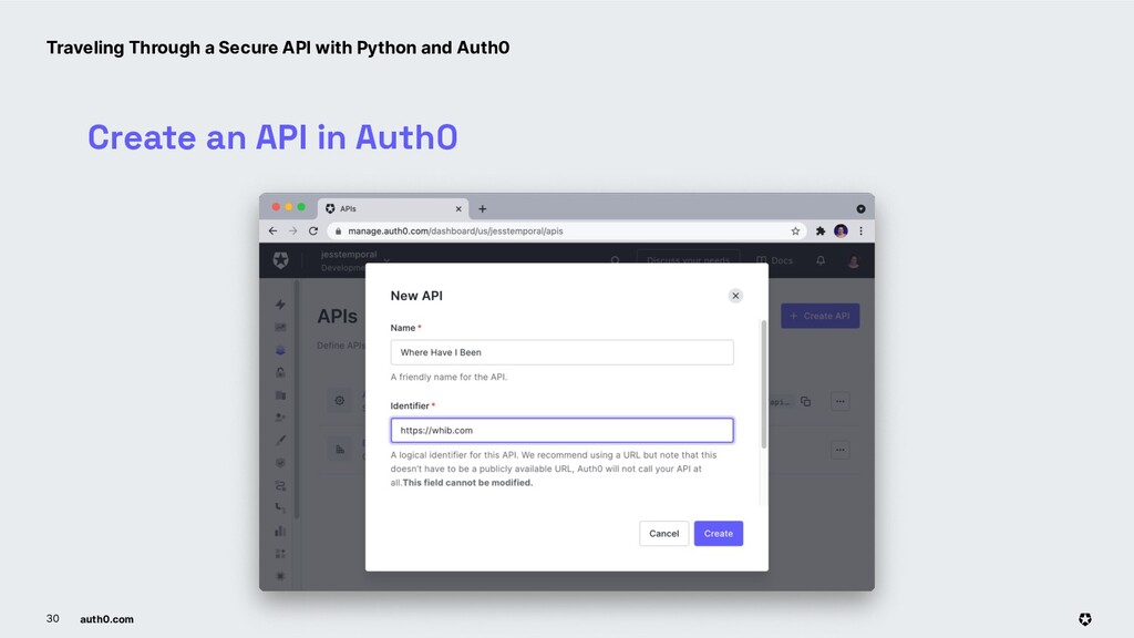 auth0.com 30 Create an API in Auth0 Traveling T...