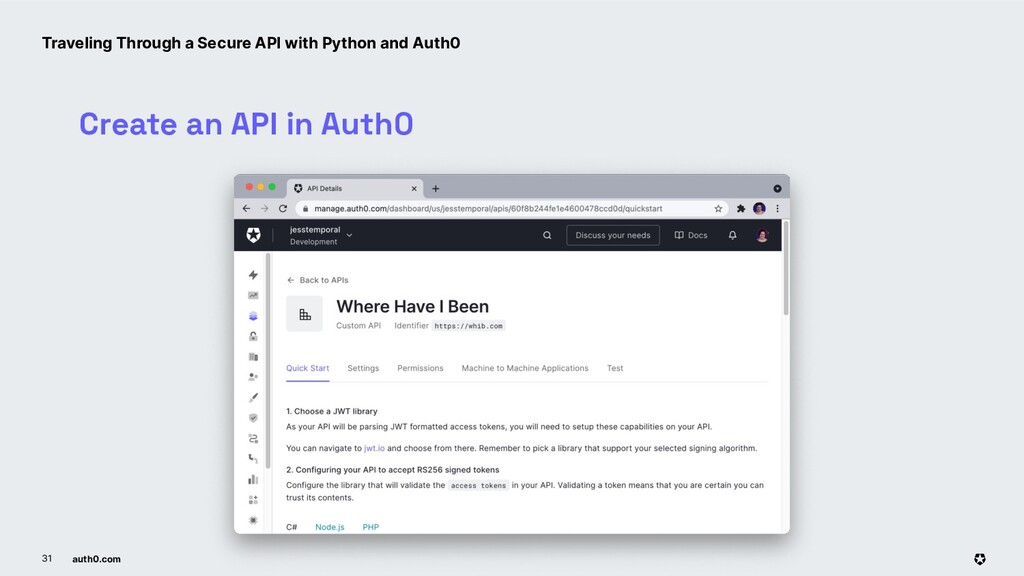 auth0.com 31 Create an API in Auth0 Traveling T...