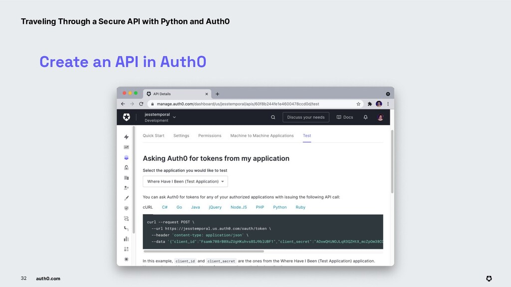 auth0.com 32 Create an API in Auth0 Traveling T...