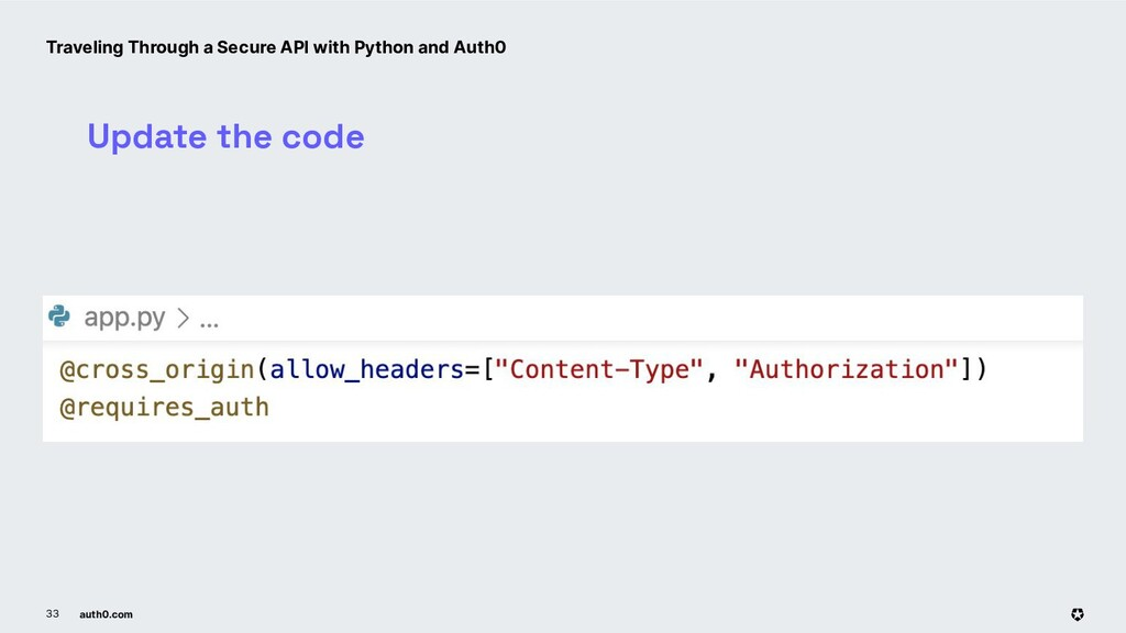 auth0.com 33 Update the code Traveling Through ...