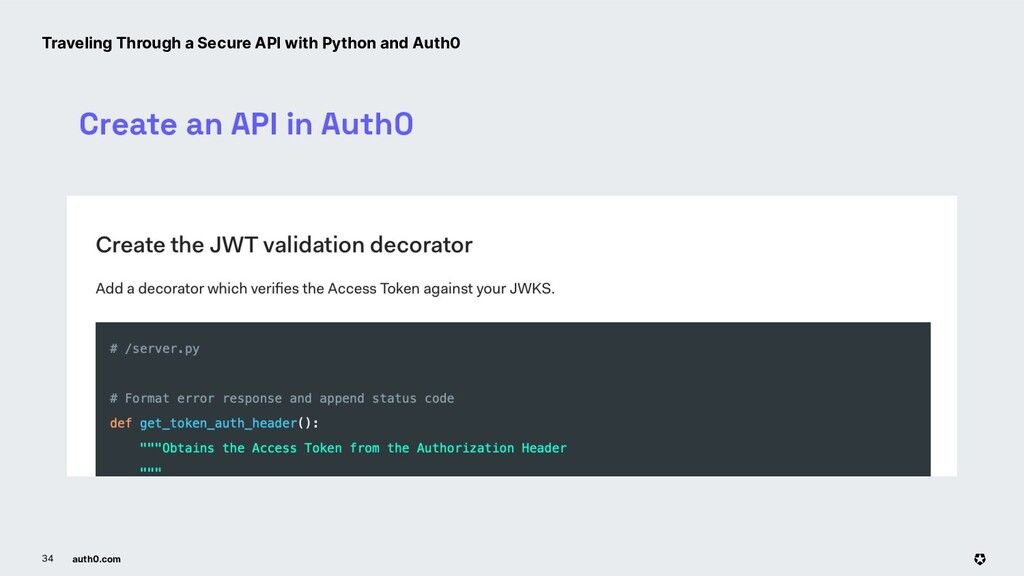 auth0.com 34 Create an API in Auth0 Traveling T...