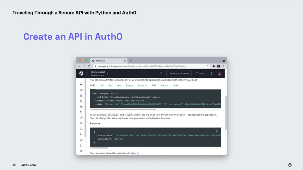 auth0.com 35 Create an API in Auth0 Traveling T...