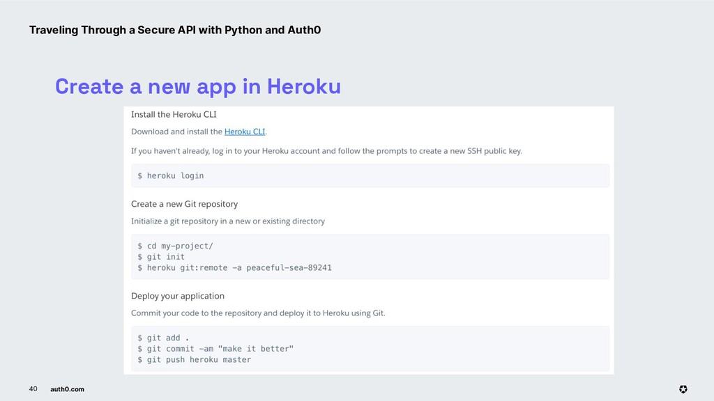 auth0.com 40 Create a new app in Heroku Traveli...
