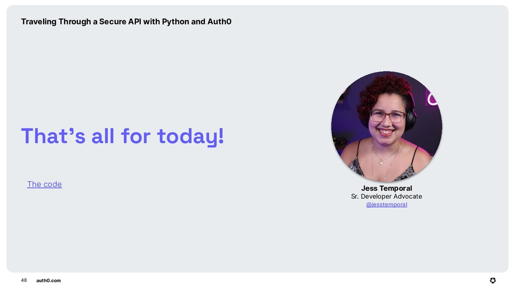 auth0.com The code 48 That's all for today! Jes...
