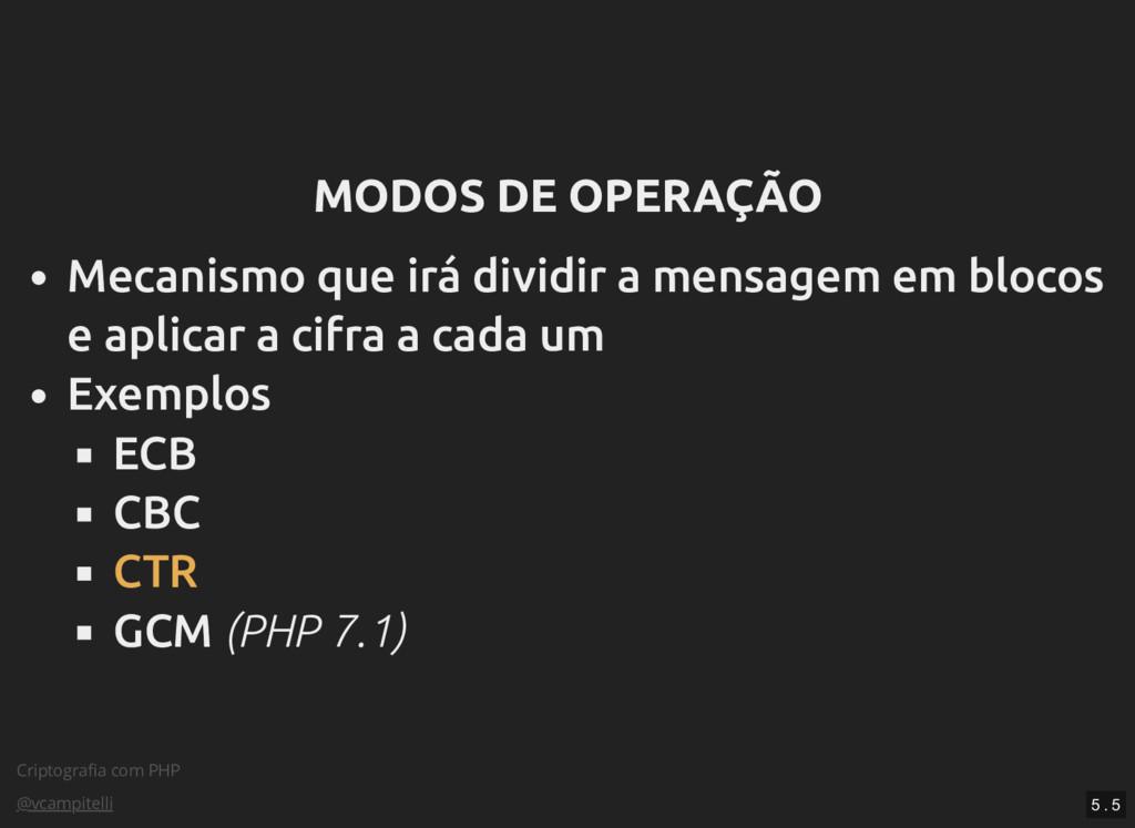 Criptografia com PHP @vcampitelli MODOS DE OPERA...