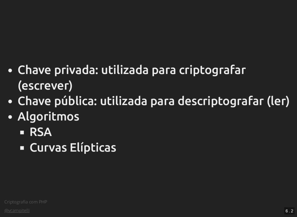 Criptografia com PHP @vcampitelli Chave privada:...