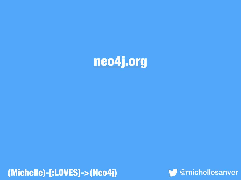 neo4j.org @michellesanver (Michelle)-[:LOVES]->...