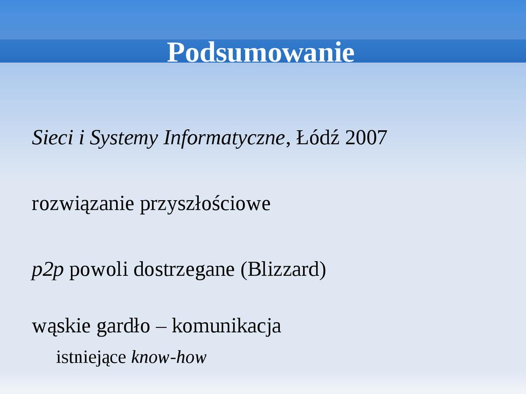 Podsumowanie Sieci i Systemy Informatyczne, Łód...