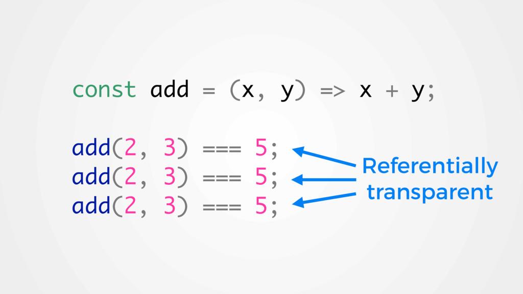 const add = (x, y) => x + y; add(2, 3) === 5; a...
