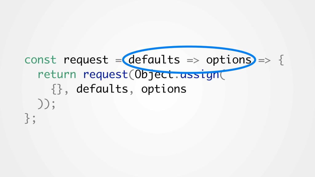 const request = defaults => options => { return...