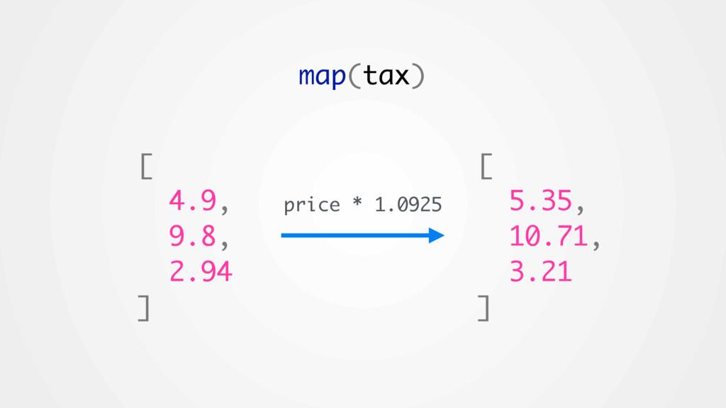 [ 5.35, 10.71, 3.21 ] map(tax) [ 4.9, 9.8, 2.94...
