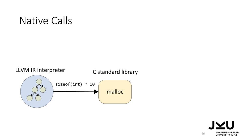 Native Calls 26 malloc LLVM IR interpreter size...