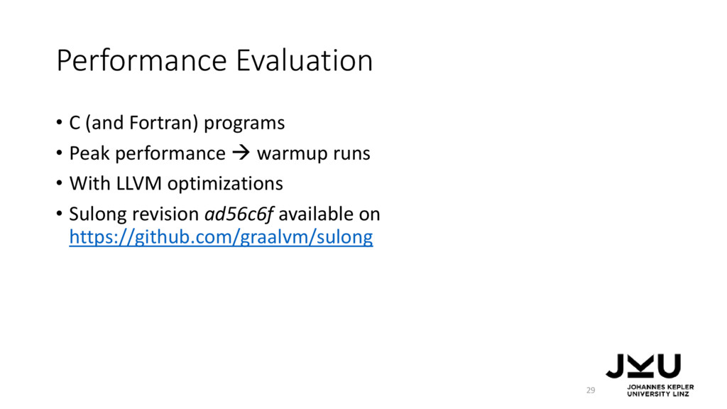Performance Evaluation • C (and Fortran) progra...