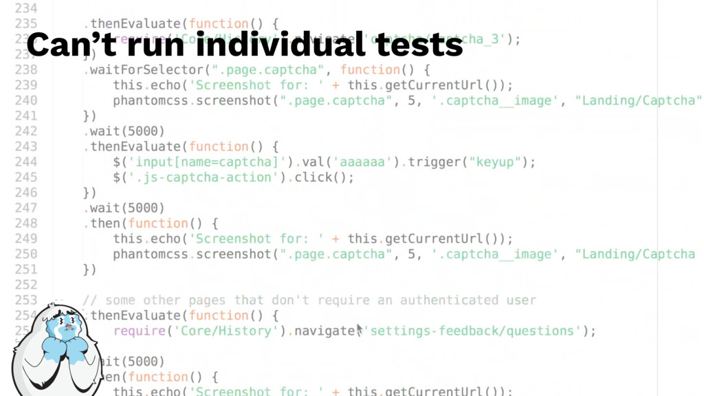 Can't run individual tests