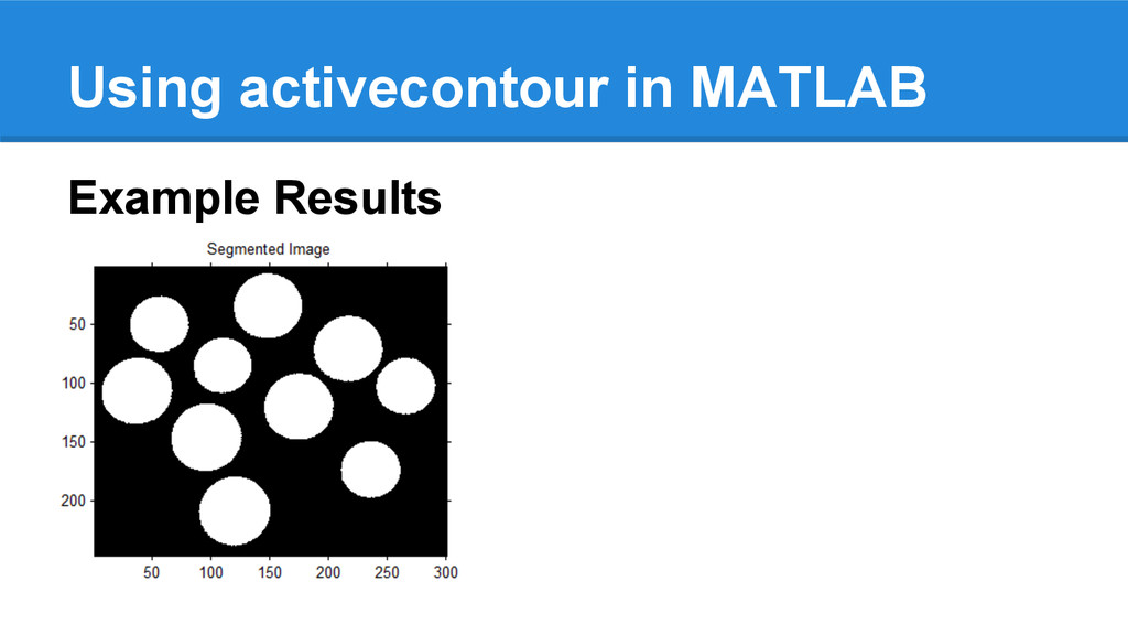 Using activecontour in MATLAB Example Results