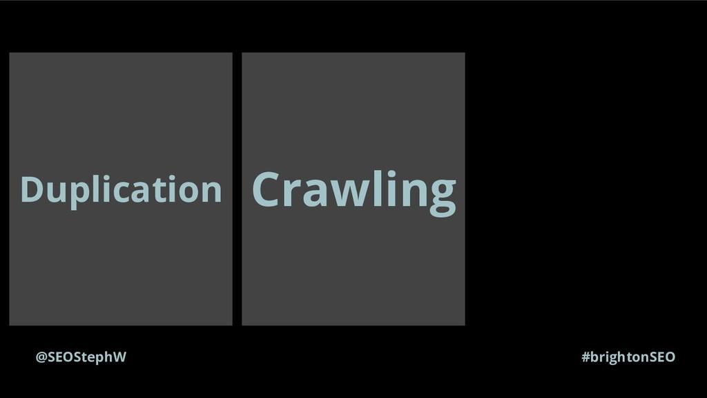 Duplication @SEOStephW #brightonSEO Crawling