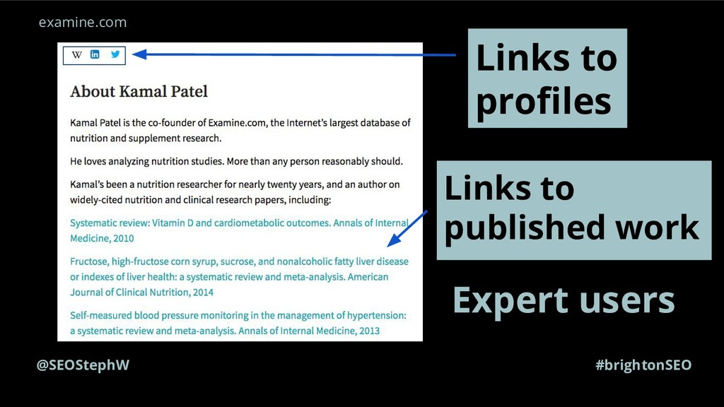 @SEOStephW #brightonSEO Expert users Links to p...