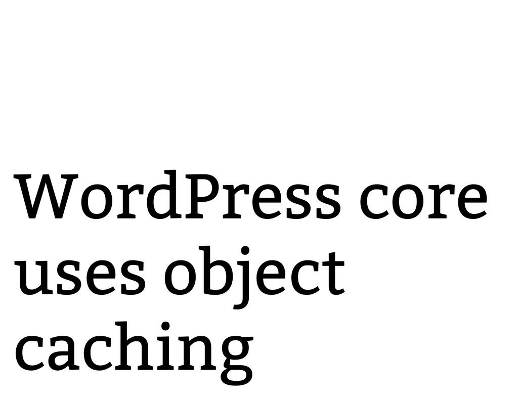 WordPress core uses object caching