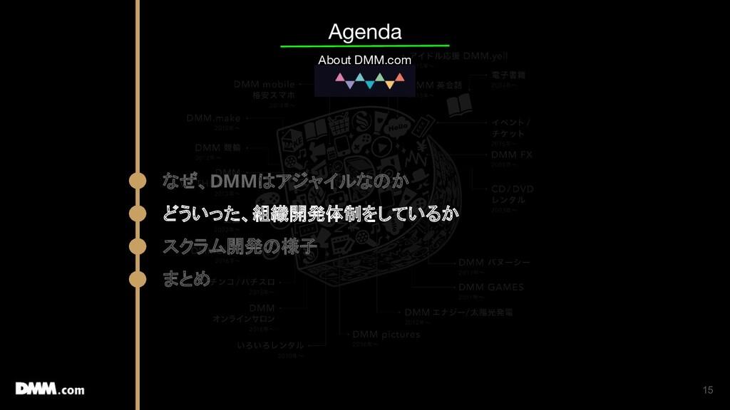 15 Agenda About DMM.com なぜ、DMMはアジャイルなのか どういった、組...