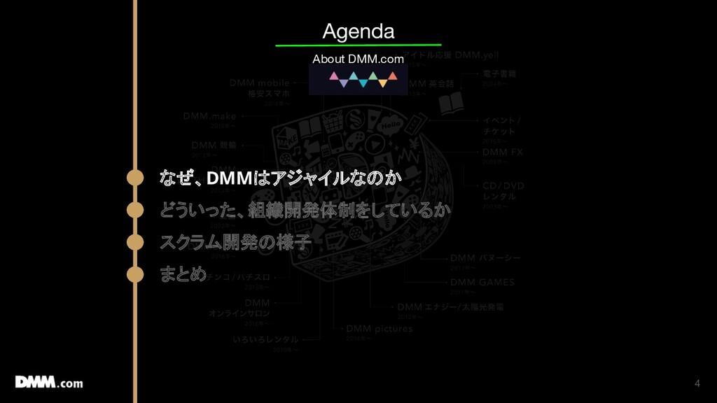 4 Agenda About DMM.com なぜ、DMMはアジャイルなのか どういった、組織...