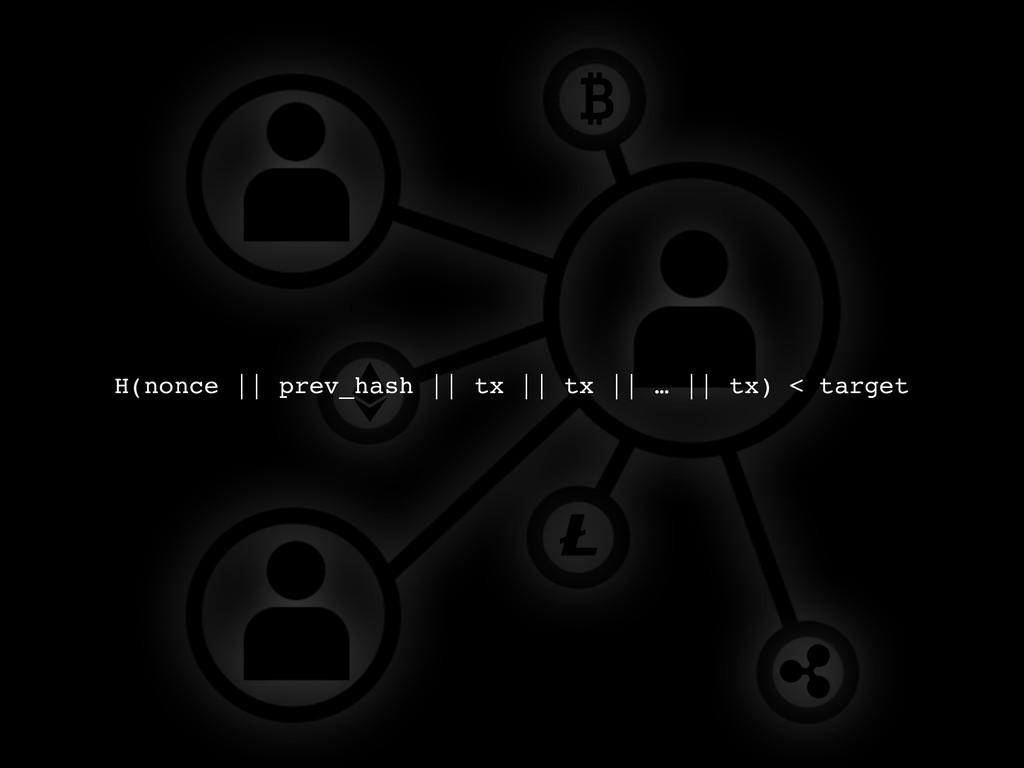 H(nonce    prev_hash    tx    tx    …    tx) < ...