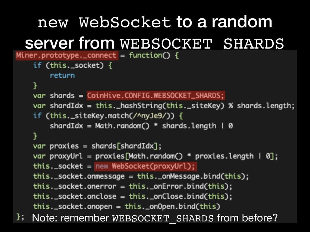new WebSocket to a random server from WEBSOCKET...