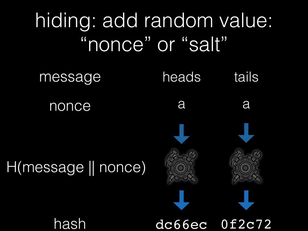 H(message    nonce) hash message tails dc66ec h...