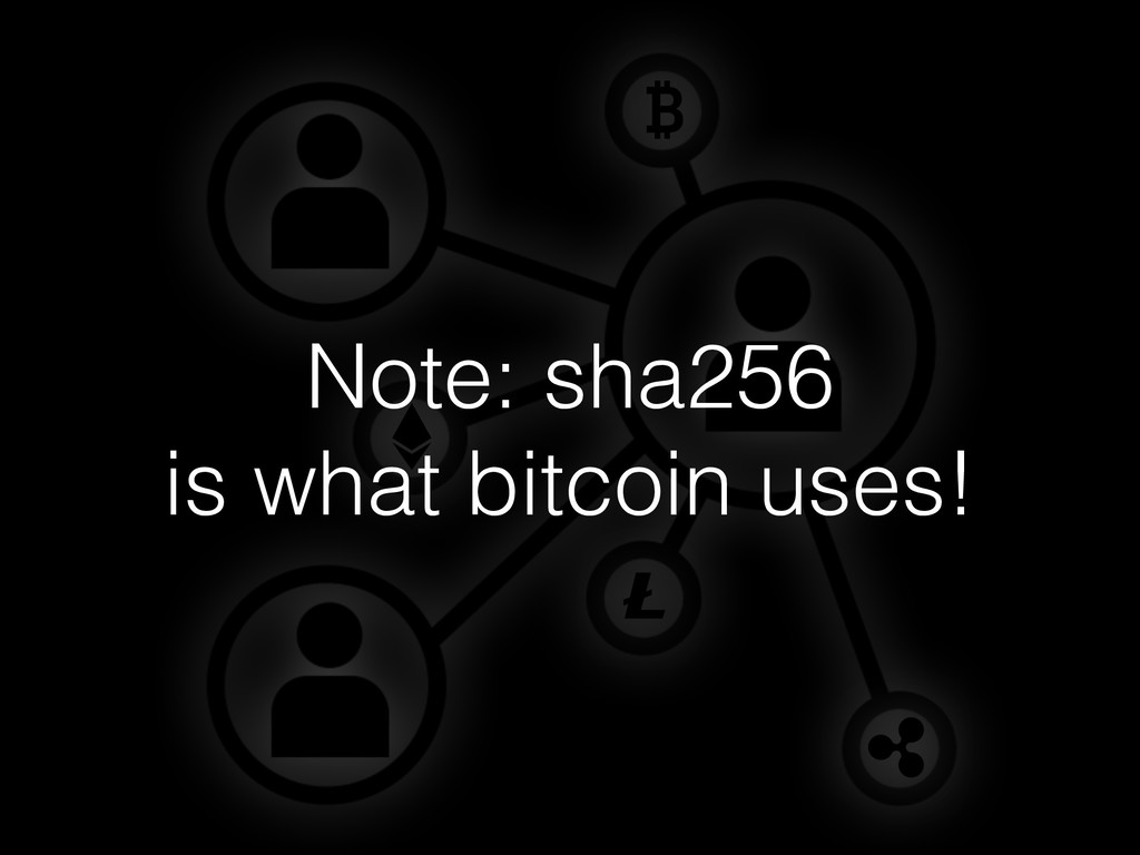 Note: sha256 is what bitcoin uses!