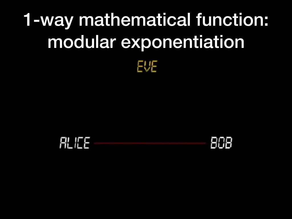 1-way mathematical function: modular exponentia...