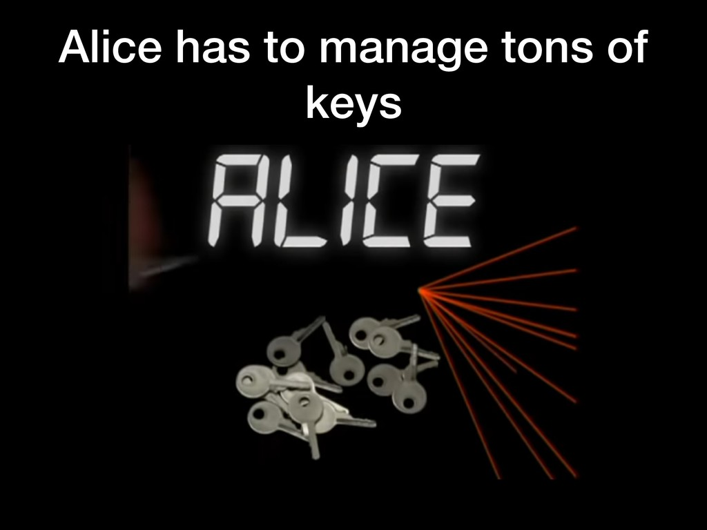 Alice has to manage tons of keys