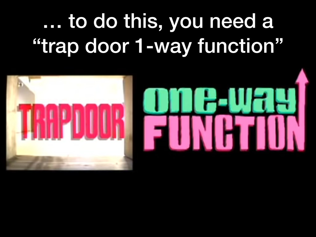 """… to do this, you need a """"trap door 1-way funct..."""