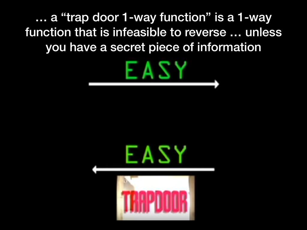 """… a """"trap door 1-way function"""" is a 1-way funct..."""