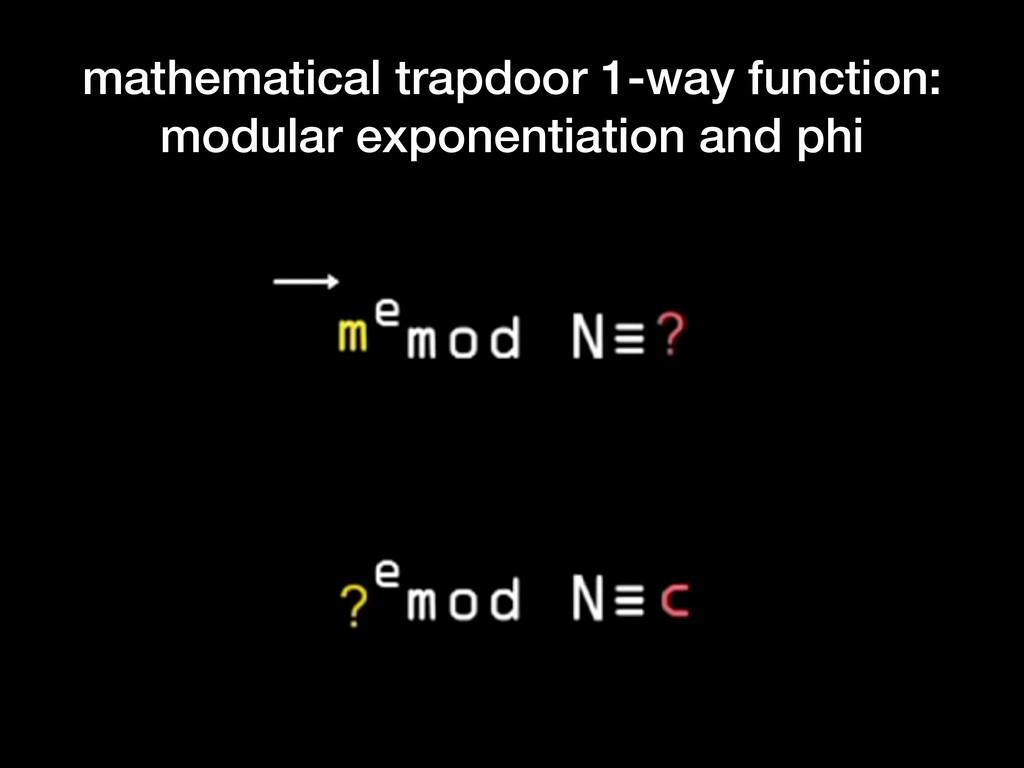 mathematical trapdoor 1-way function: modular e...