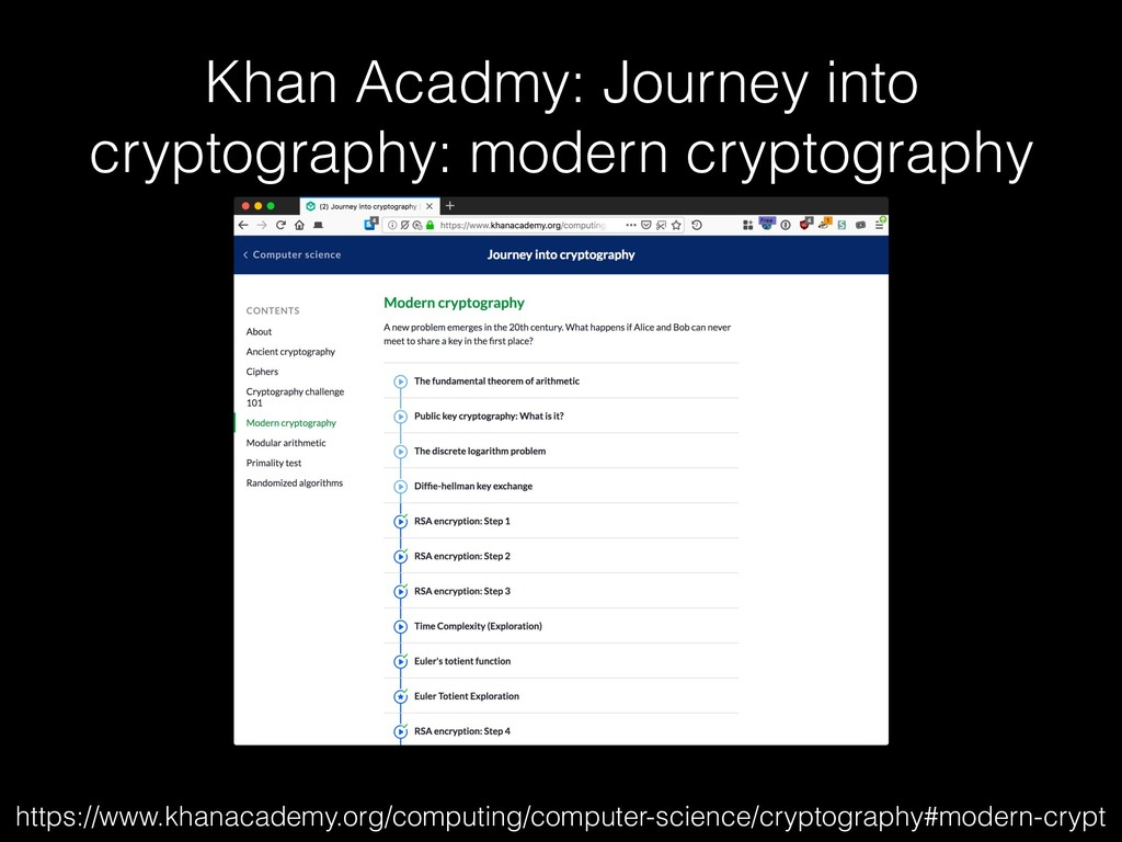 Khan Acadmy: Journey into cryptography: modern ...