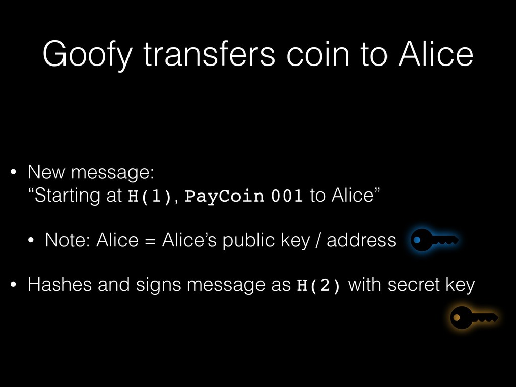 """Goofy transfers coin to Alice • New message: """"..."""