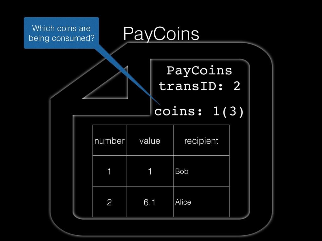 PayCoins number value recipient 1 1 Bob 2 6.1 A...