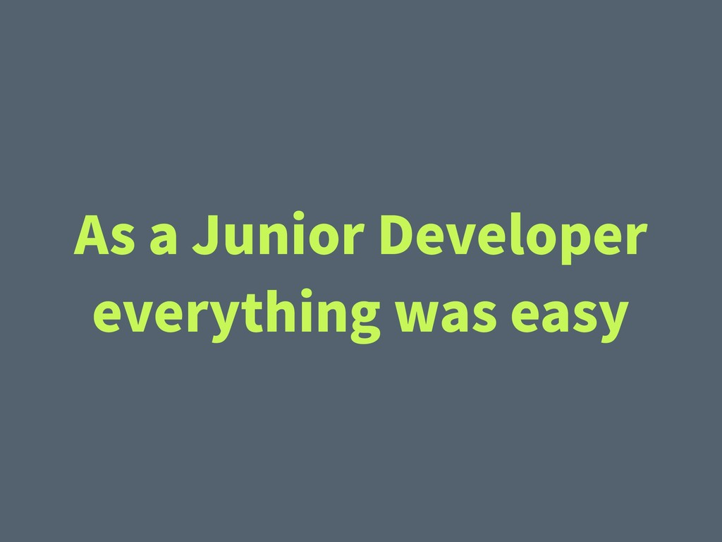 As a Junior Developer everything was easy