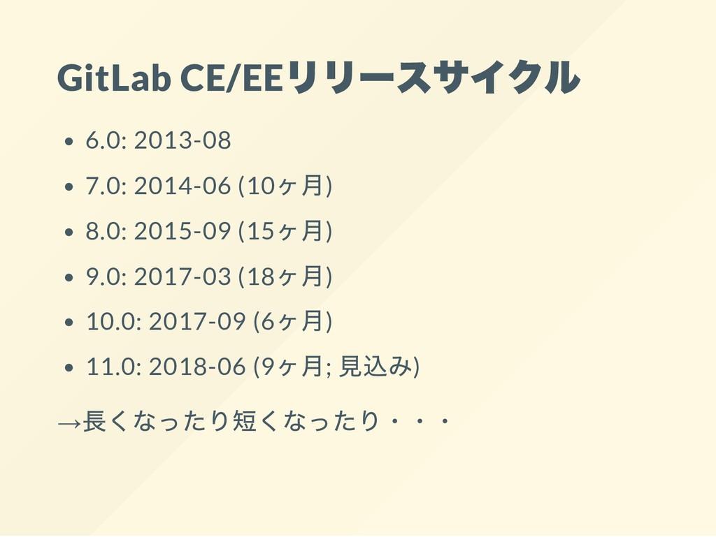 GitLab CE/EE 6.0: 2013-08 7.0: 2014-06 (10 ) 8....